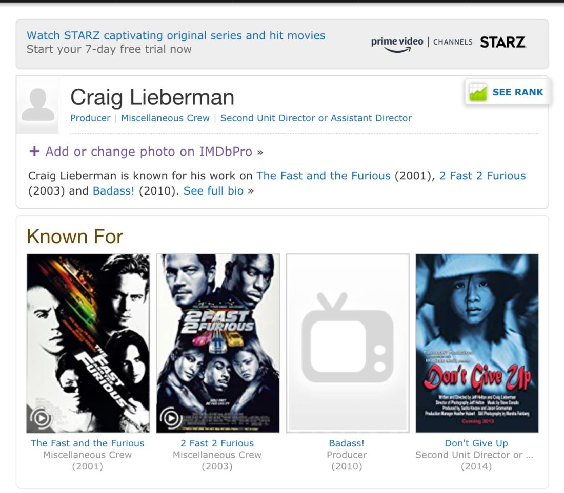 Craig Lieberman IMDB